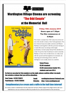 Wardington Village Cinema The Odd Couple Poster A4